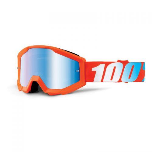 Masque 100% Strata Youth - Orange - Ecran Miroir Bleu