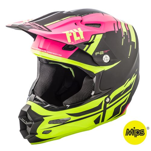 Casque Fly F2 Carbon Forge Mips Rose/Jaune Fluo/Noir