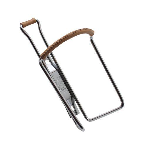 Porte Bidon Zefal Vintage Acier Chrome Avec Gainage Cuir Marron Diam 4Mm 80G