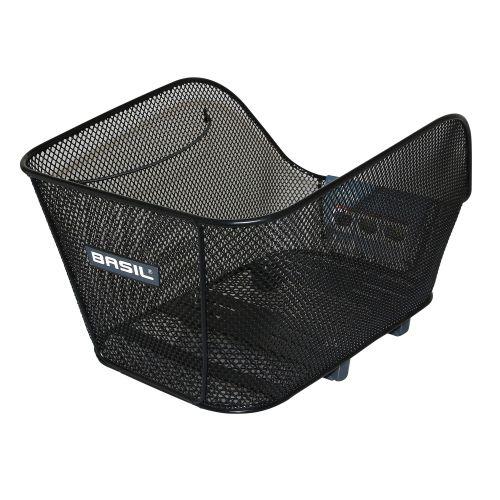 Panier Ar Acier Nid Abeille Basil Icon Medium Noir Avec Anse Fixation Systeme Wsl Sur Cote Porte Bagage Ideal Pour E-Bike-Vae (L38Xl23Xh21Cm)