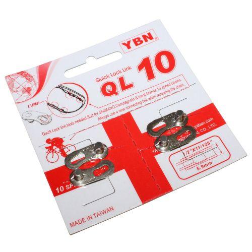 Connecteur De Chaine Velo 10V Ybn Argent Compatible Shimano - Campagnolo (2 Pieces)