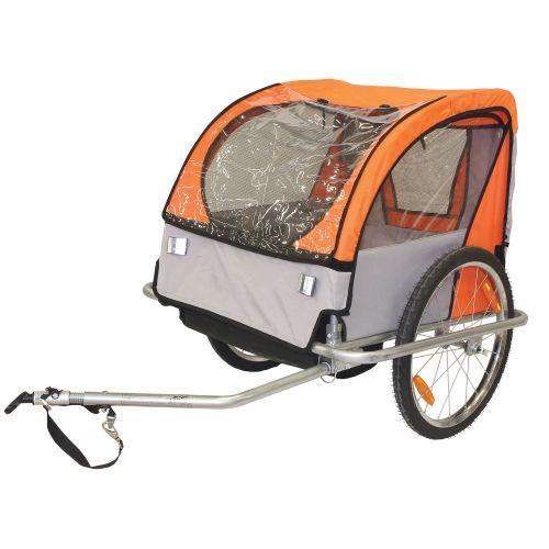 Remorque Velo Enfant Couverte 2 Places Maxi 40Kg Orange Roues 20