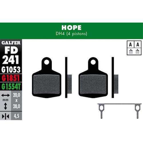 Plaquettes De Frein Galfer Hope Dh4 4 Pistons (Set Di 2 Coppie) Noir Std