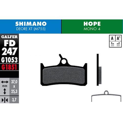 Plaquettes De Frein Galfer Shimano Xt 755, Grimeca Rouge Advanced