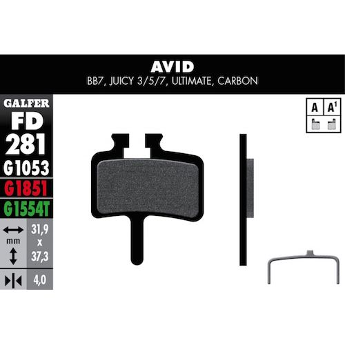 Plaquettes De Frein Galfer Avid Bb7, Juicy 3/5/7/Ultimate/Carbon, Promax 950 Rouge Advanced