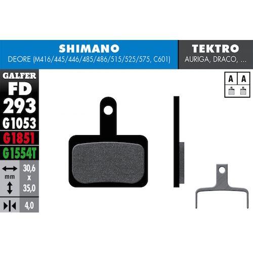 Plaquettes De Frein Galfer Shimano Deore 416/445/446/485/486/515/525/575, C601, Tektro Rouge Advanced