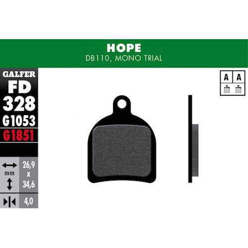 Plaquettes De Frein Galfer Hope Mono Trial, Db110 Rouge Advanced