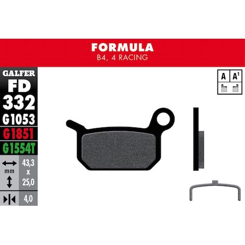 Plaquettes De Frein Galfer Formula B4, 4 Racing Noir Std