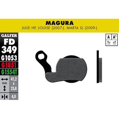 Plaquettes De Frein Galfer Magura Julie Hp, Louise (2007-), Marta Sl (2009-) Noir Std