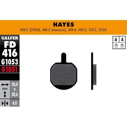 Plaquettes De Frein Galfer Hayes Mx-2 (2004), Mx-3 (Mec), Mx-4, Mx-5, Gx-2, Sole Rouge Advanced
