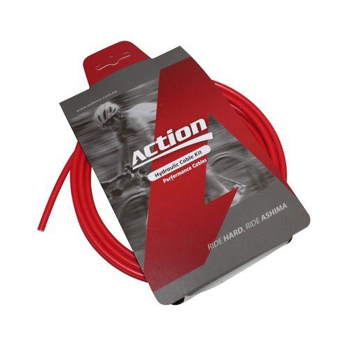 Durite De Frein Vtt Hydraulique Action Rouge 2.5M (Kit Avec Banjos)