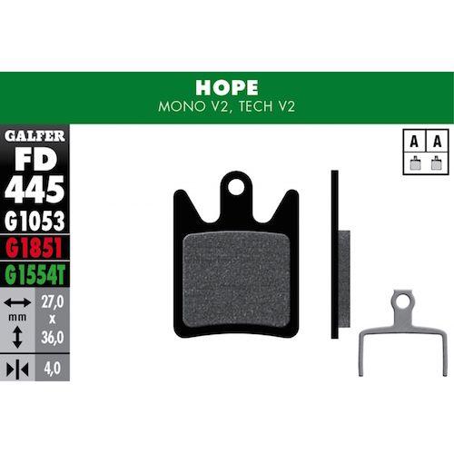 Plaquettes De Frein Galfer Hope Mono V2, Tech V2 Rouge Advanced