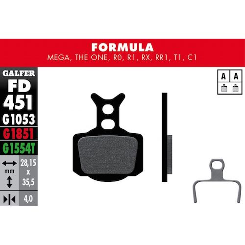 Plaquettes De Frein Galfer Formula Mega, The One, R0, R1, Rx, Rr1, T1, C1 Noir Std