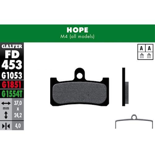 Plaquettes De Frein Galfer Hope M4 Noir Std