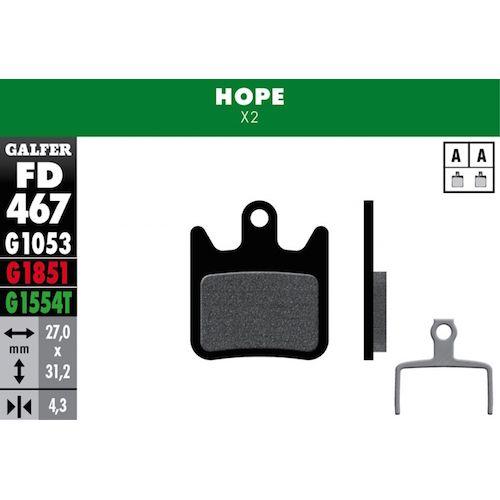 Plaquettes De Frein Galfer Hope X2 Vert Pro