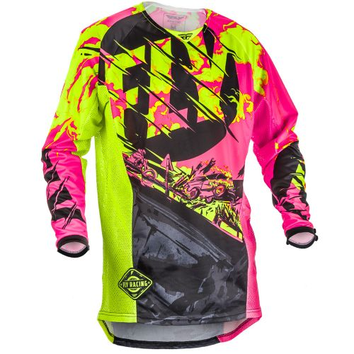 Maillot Enfant Fly Kinetic Outlaw Rose/Jaune Fluo
